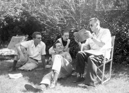 Philip Whalen, Johana McClure, Michael McClure, KP, 1959, by Miriam Patchen