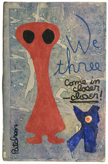 "Painting-Poem, ""We Three"", mixed media on antique paper, circa 1965"
