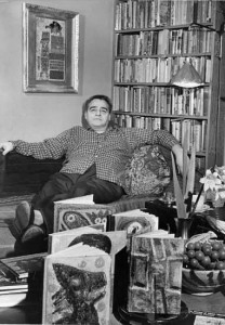 """Late Photo of KP with """"Painted Books"""", (Palo Alto Times), 1968"""